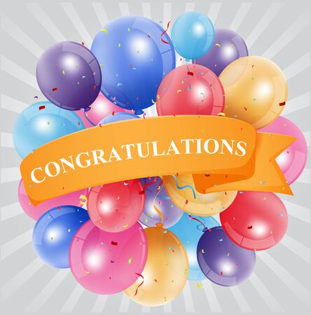 congratulations word: Congratulations celebration with balloon Illustration