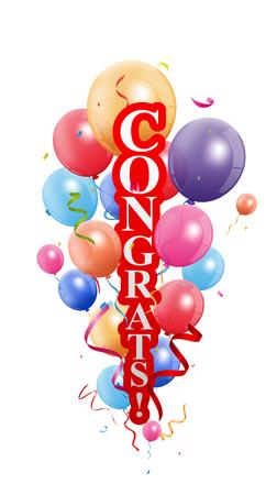 celebration: Congratulations celebration with balloon Illustration