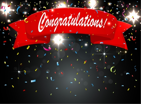 poppers: Congratulations celebration with firework and confetti Illustration