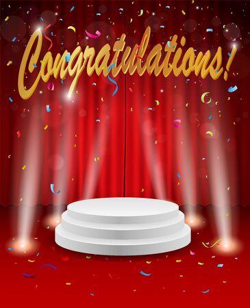 Congratulations celebration with firework and confetti Illustration