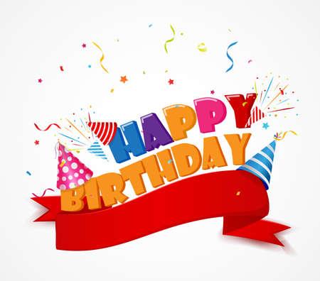 Happy birthday with red ribbon Illustration