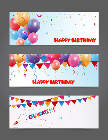 Bannière anniversaire et célébration avec des ballons colorés