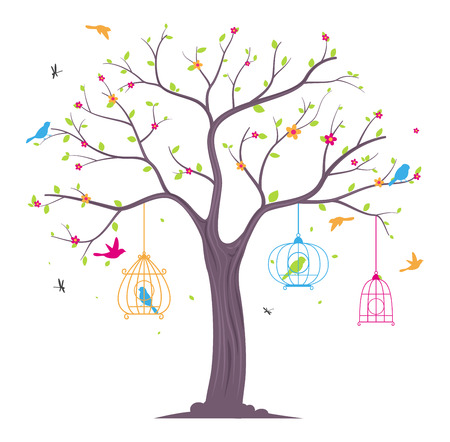 birdcage: colorful Birds with tree and birdcage Illustration