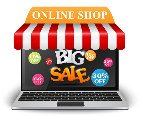 shop online: Sale and online shop concept with smartphone Illustration