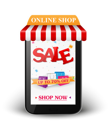Sale and online shop concept with smartphone