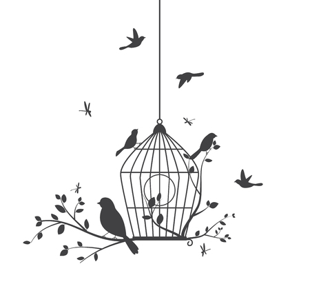 birds on branch: Birds silhouette with tree and birdcages