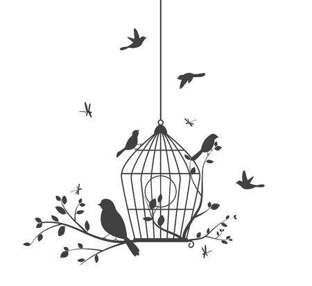 rosa negra: Silueta de los pájaros de los árboles y jaulas de pájaros Vectores