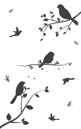 Birds silhouette with tree and birdcages