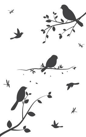 Silueta de los pájaros de los árboles y jaulas de pájaros Foto de archivo - 60254840