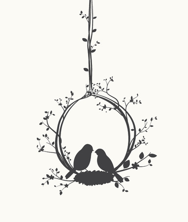 木と鳥かごの鳥シルエット