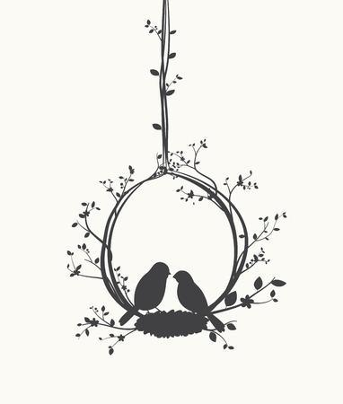 Vogels silhouet met boom en vogelkooien Stock Illustratie