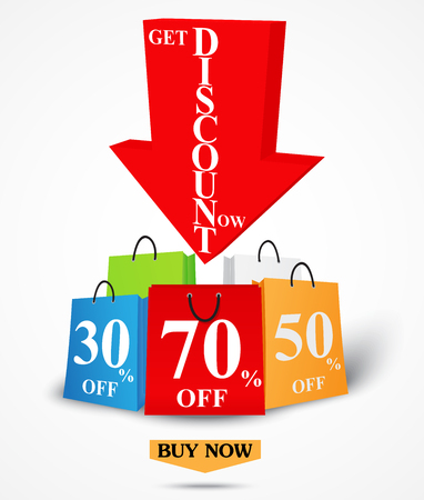 discount store: Sale Banner Design for shop and online store with Discount Illustration