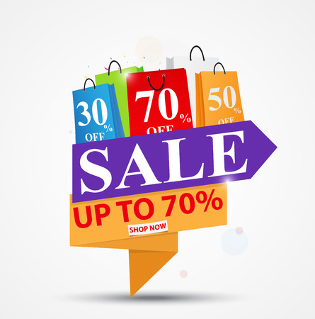 Sale Banner Design for shop and online store with Discount Illustration