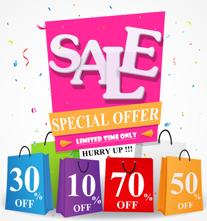 advertisements: Sale Discount design with shopping bag and confetti