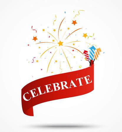 celebration: Celebration ribbon with fireworks