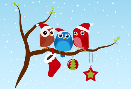 Christmas greeting with birds sitting on branch Illustration