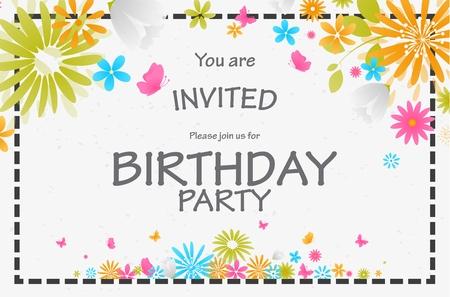 uitnodigingskaart van de verjaardag met een mooie bloem Vector Illustratie