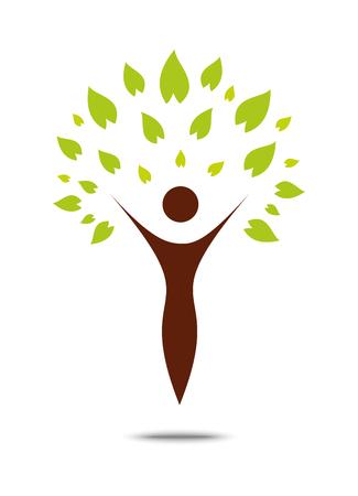 silueta humana: Green family tree sign and symbol, eco concept