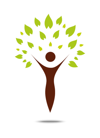 Green family tree sign and symbol, eco concept
