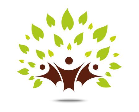 grupo de hombres: Muestra del árbol de la familia verde y símbolo, el concepto de eco