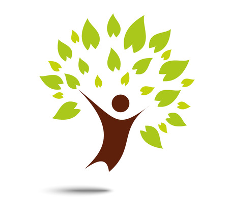 arbol genealógico: Muestra del árbol de la familia verde y símbolo, el concepto de eco