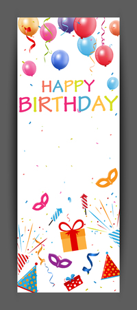 red happiness: Happy birthday banner with colorful confetti