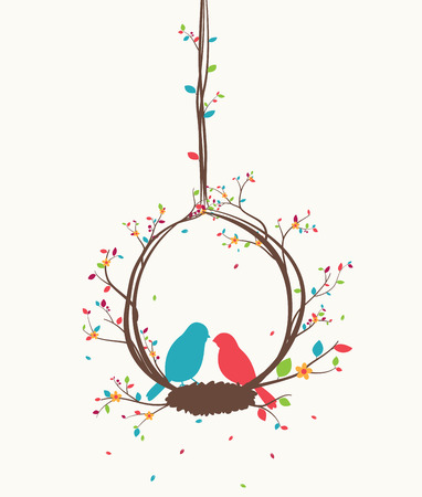 Colorful tree with birds and birdcages Illustration