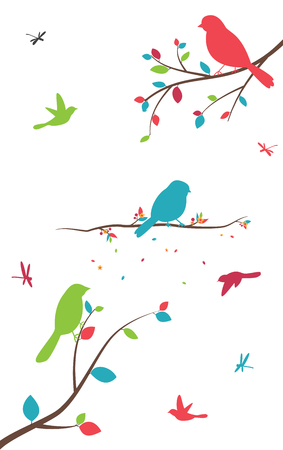 black branch: Colorful tree with birds and birdcages Illustration