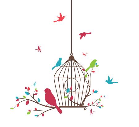 oiseau dessin: arbre coloré avec des oiseaux et volières Illustration