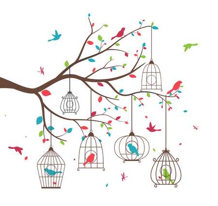 birds in tree: Colorful tree with birds and birdcages Illustration