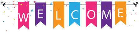 Welcome sign with colorful bunting flags and confetti  イラスト・ベクター素材