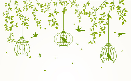birdcage: Green leaves background with birdcage Illustration