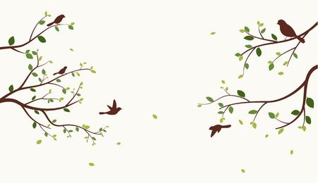 Bel arbre avec des oiseaux Vecteurs