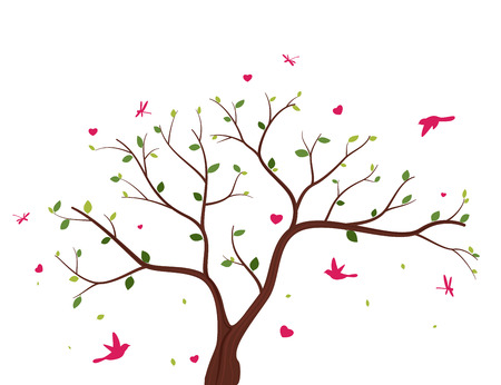 birds in tree: Beautiful tree with birds Illustration