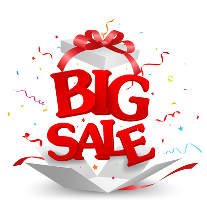 Geopend Big Sale Out of the box met confetti