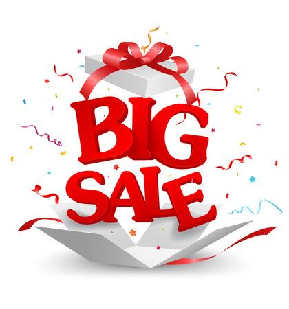 Ouvert Big Sale Hors de la boîte avec des confettis