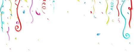 fiesta: Colorful confetti and streamer on white background