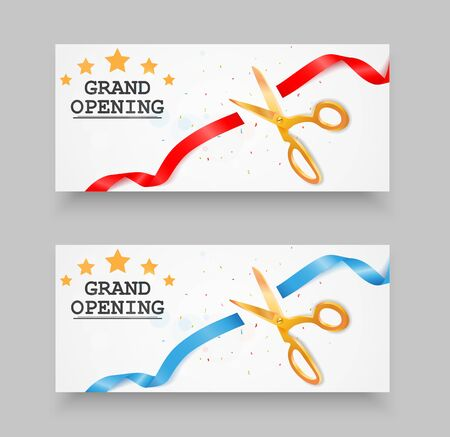grand sale: Grand opening banner with confetti and cutting ribbon