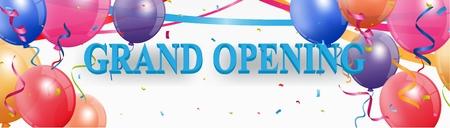 Banner de gran apertura con confeti y fuegos artificiales Foto de archivo - 66358634
