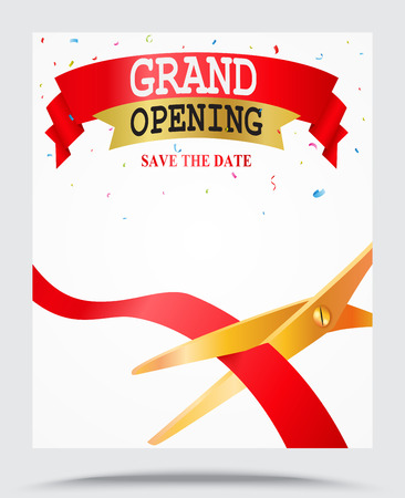 Grand opening background with confetti Illustration