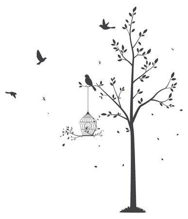 rosa negra: Silhouette of Birds with tree and birdcage
