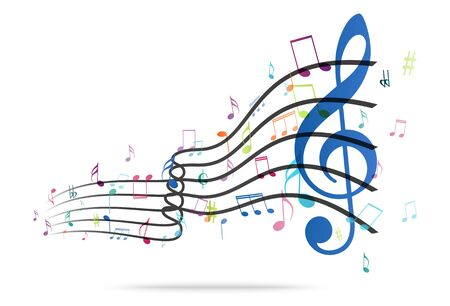 music background: Colorful music Notes Background