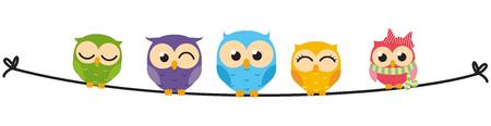 Happy Owl familie zit op draad