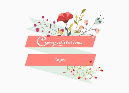 Félicitations lettrage décoratif avec fleur