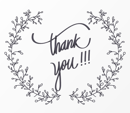 sentiment: Thank you lettering for decorative card.