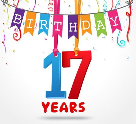 17 Years Birthday Celebration greeting card Design Illustration