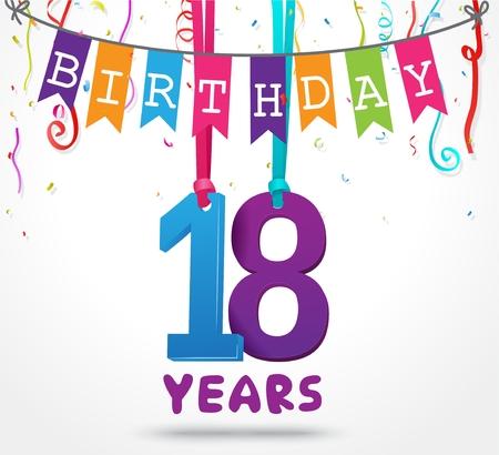 18 Years Birthday Celebration greeting card Design