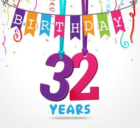32 Years Birthday Celebration greeting card Design