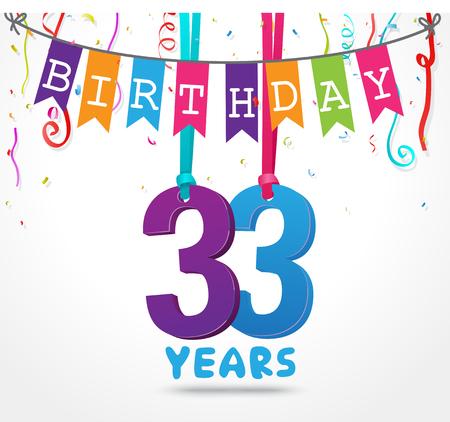 33 Years Birthday Celebration greeting card Design