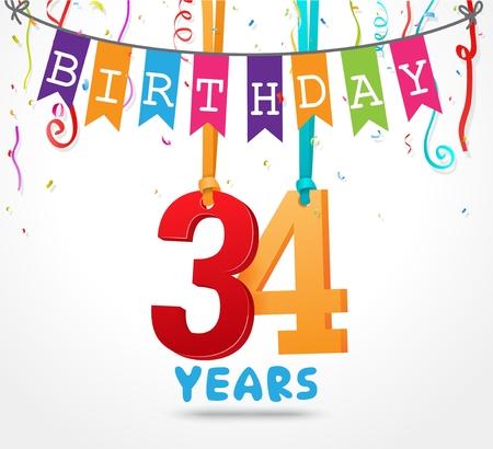 34: 34 Years Birthday Celebration greeting card Design Illustration